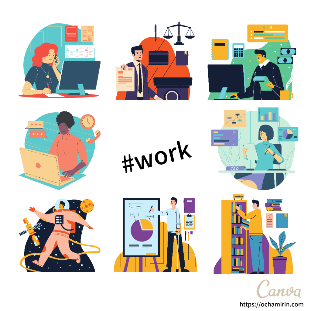 Canvaブログアイキャッチ画像「work × IT系っぽい素材」