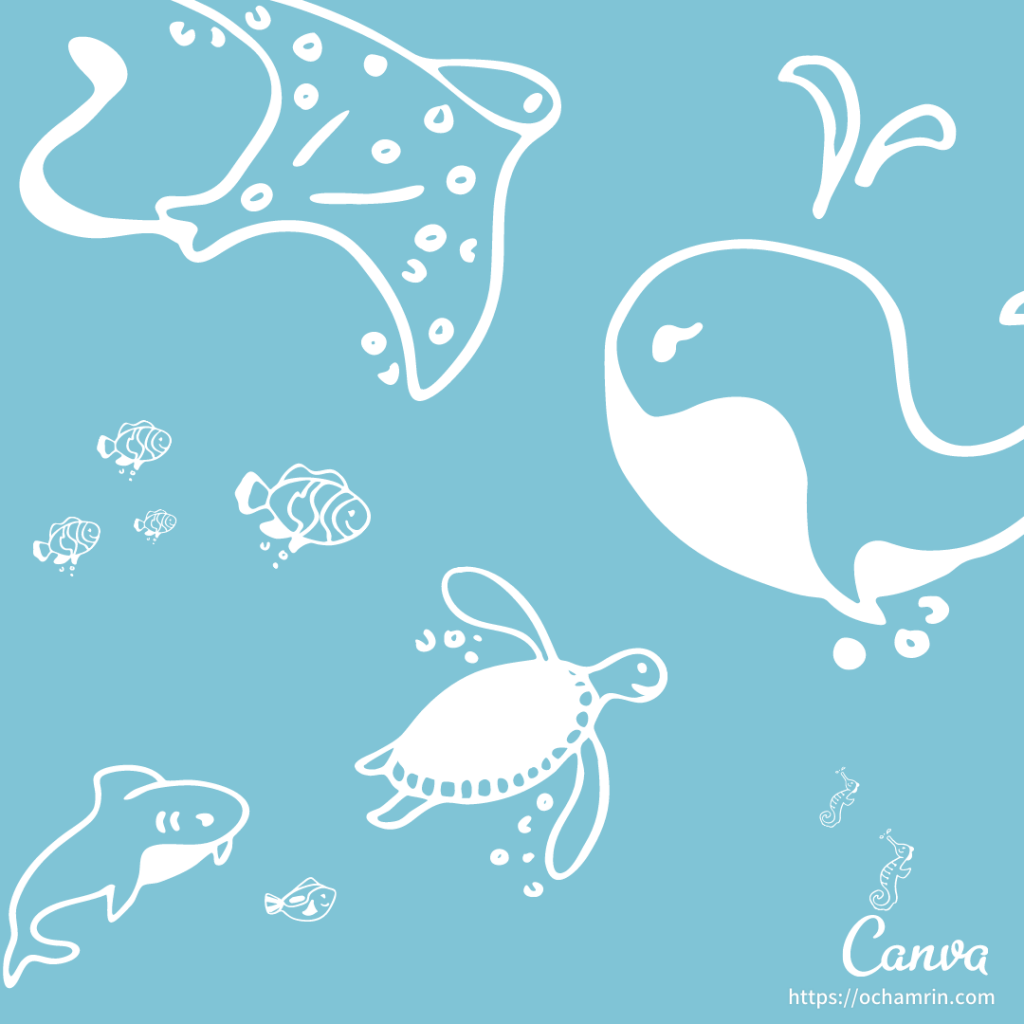 Canva無料おすすめ素材:手書きの海の生き物
