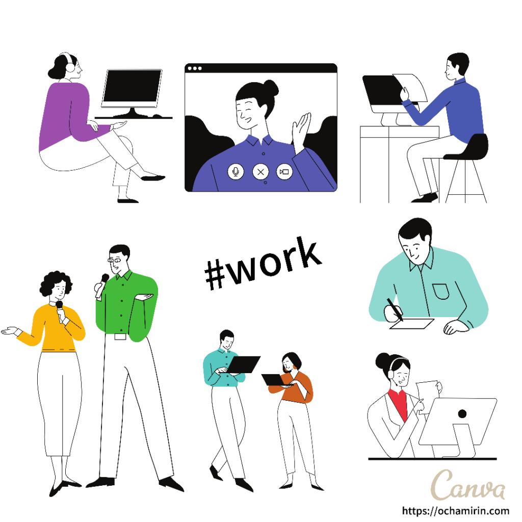 Canvaブログアイキャッチ画像「work × おしごと線画」